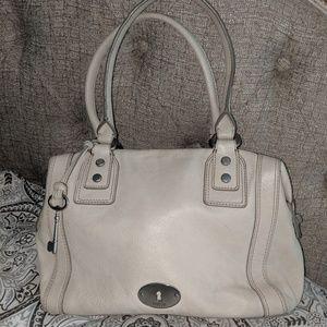 Fossil leather satchel bag purse ivory EUC